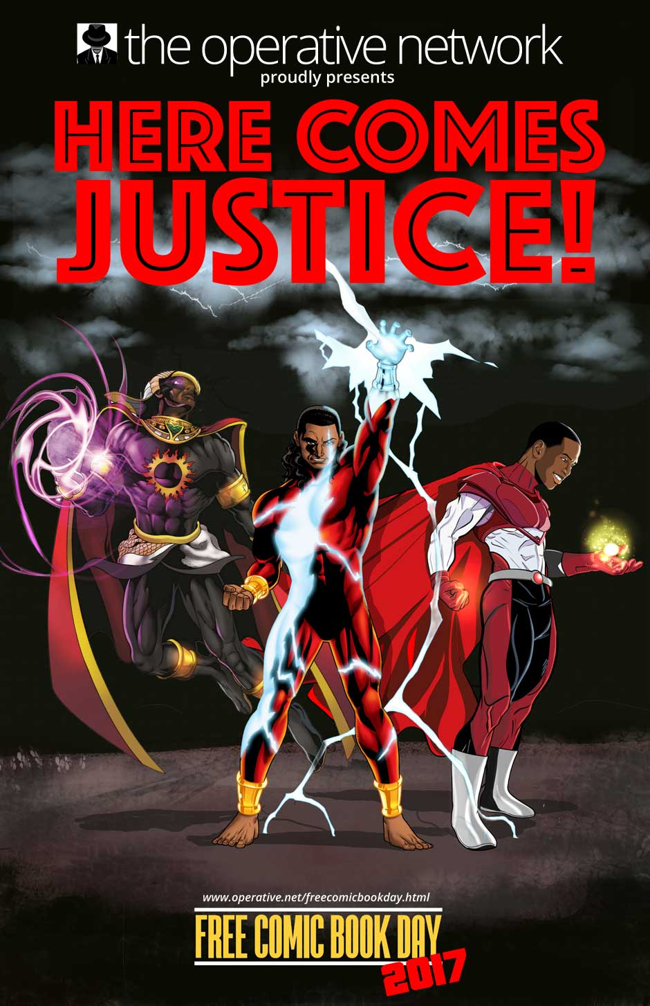 the cover to the free comic book day PDF here comes justice